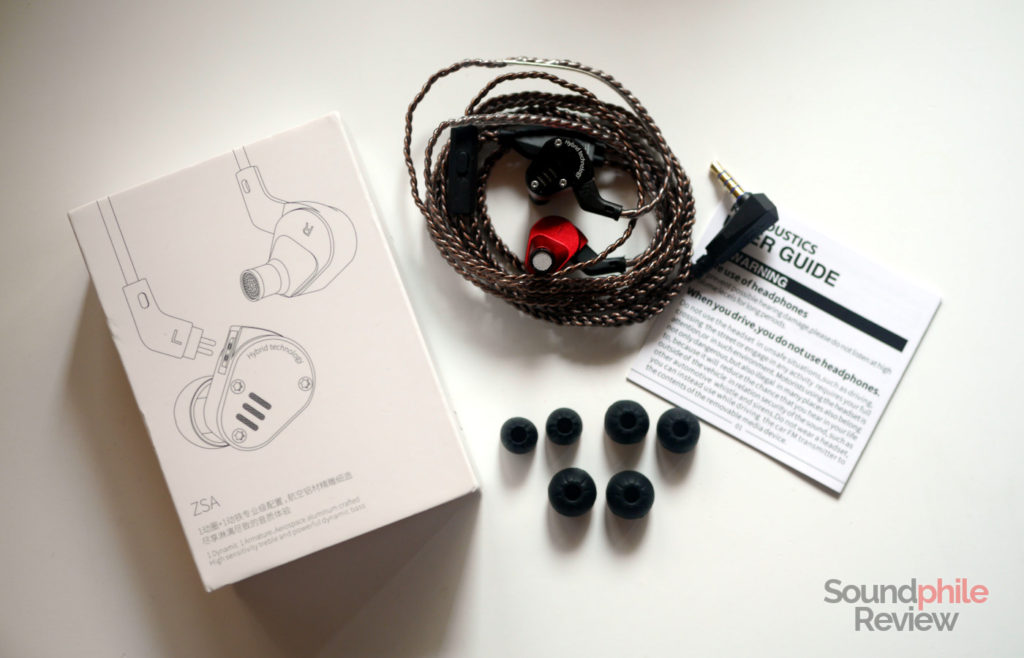 KZ ZSA packaging and accessories